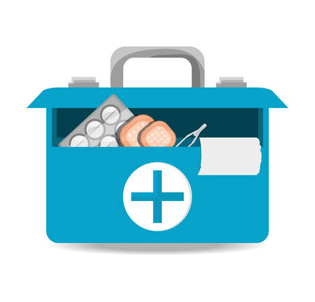 suitcase first aid kit with medical tools vector illustration