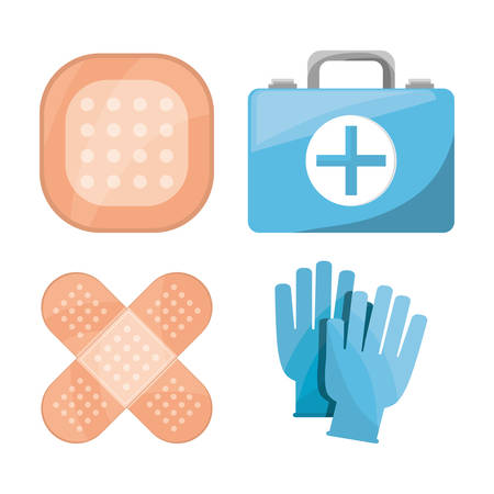 doctor gloves: set medical first aid kit to pharmacy urgency vector illustration