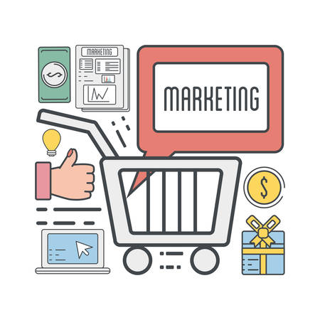 marketing business to shopping online information vector illustration