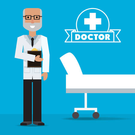 A doctor with medical analysis prescription information vector illustration. Illustration