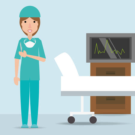 Specialist woman doctor with stretcher and cabinet vector illustration.