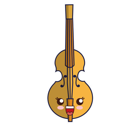kawaii violin icon over white background vector illustration