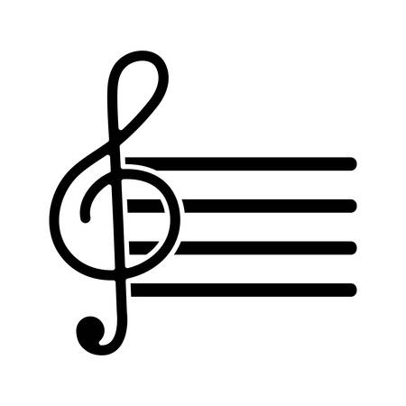 Pentagram con el icono de nota musical sobre ilustración de vector de fondo blanco Foto de archivo - 82078235