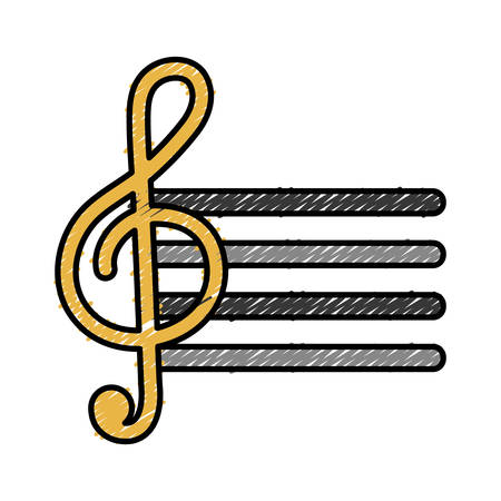 pentagramma musicale: pentagramma con icona di nota musicale su sfondo bianco illustrazione vettoriale Vettoriali