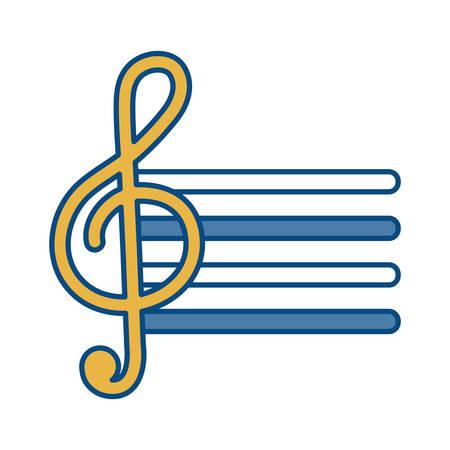 pentagram con el icono de nota musical sobre ilustración de vector de fondo blanco