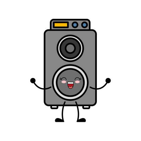 kawaii speaker icon over white background vector illustration Illustration