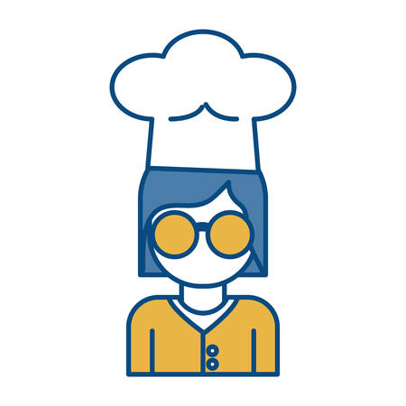 woman with chef hat icon over white background vector illustration