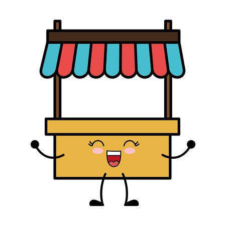 kawaii store kiosk icon over white background vector illustration