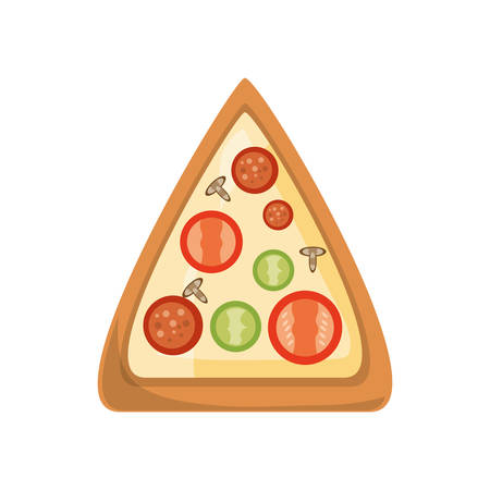 fried: Delicious pizza fast food icon vector illustration graphic design Illustration