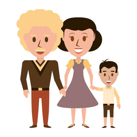 Retro family cartoon icon vector illustration graphic design Illustration