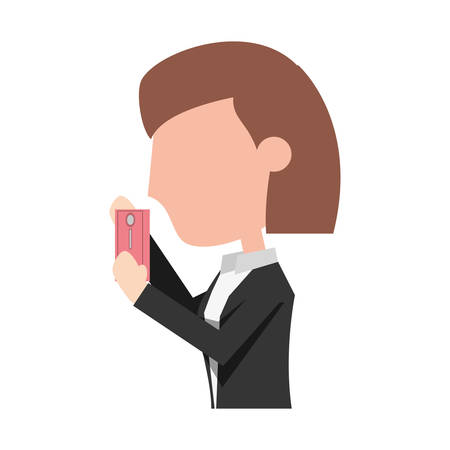 using smart phone: Young woman with smartphone cartoon icon vector illustration graphic design Illustration