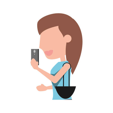 using smartphone: Young woman with smartphone cartoon icon vector illustration graphic design Illustration