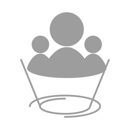 socializando: Trabajo en equipo y el establecimiento de una red símbolo icono ilustración vectorial diseño gráfico Vectores