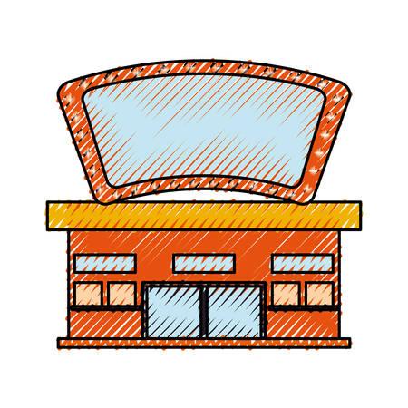Cinema building cartoon icon vector illustration graphic design