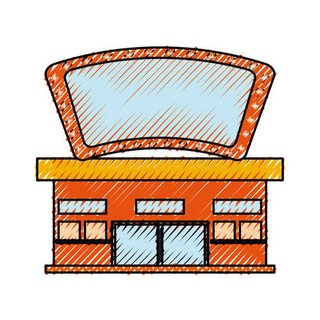 Cinema building cartoon icon vector illustration graphic design