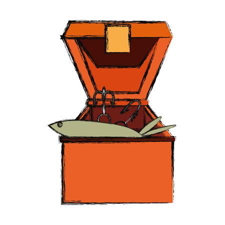 Fisherman box isolated icon vector illustration graphic design Illustration