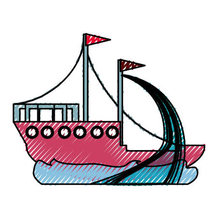 floating: Fishing ship boat icon vector illustration graphic design Illustration