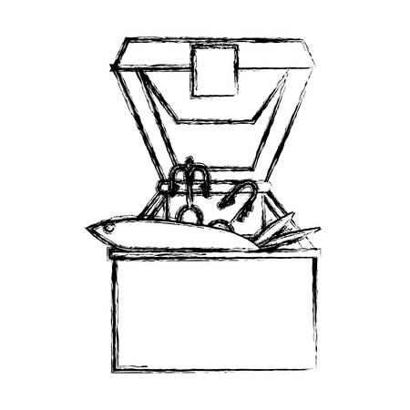 tackle box: Fisherman box isolated icon vector illustration graphic design Illustration