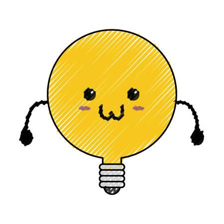 Cute bulb kawaii icon vector illustration graphic design