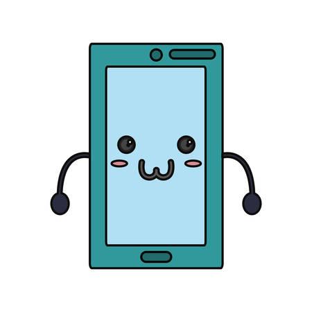 hand touch: Cute smartphone icon vector illustration graphic design Illustration