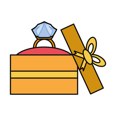 Wedding ring gift box icon vector illustration graphic design Illustration