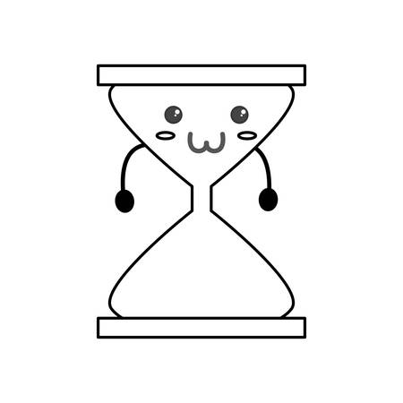 Cute hour glass kawaii icon vector illustration graphic design