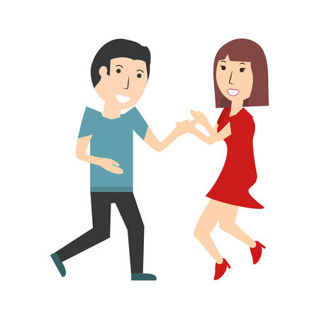 Beautiful young couple icon vector illustration graphic design Illustration