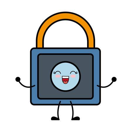 firewall: kawaii padlock icon over white background vector illustration