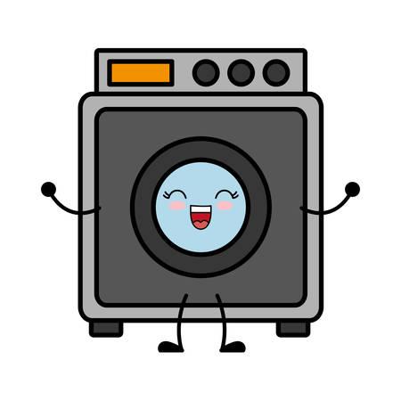 kawaii washing machine icon over white background vector illustration