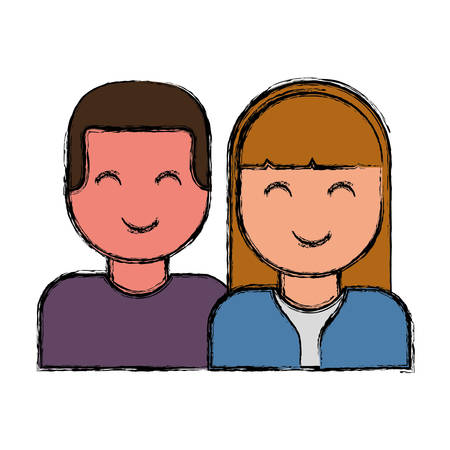 postcard: couple of woman and man icon over white background colorful design vector illustration