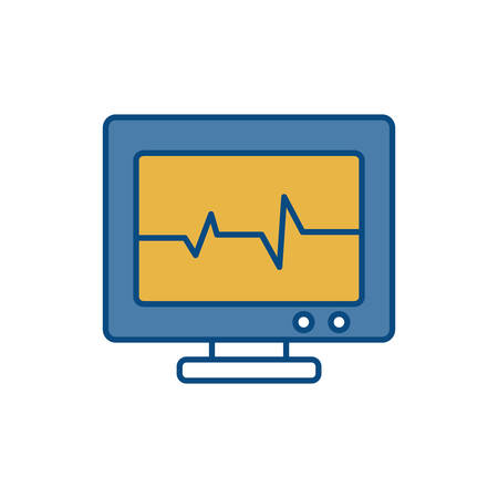 heart monitor: heart cardio monitor icon over white background vector illustration