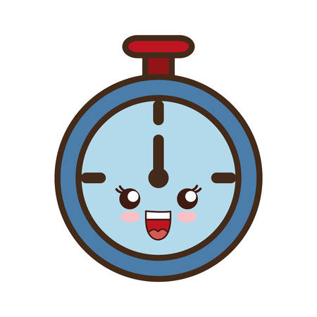 cronometro: kawaii cronómetro icono sobre fondo blanco ilustración vectorial