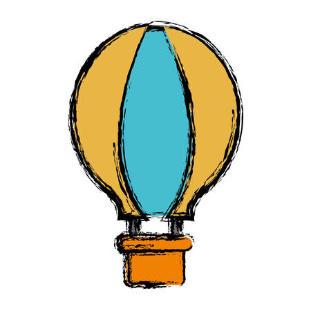 ballooning: air balloon icon over white background vector illustration