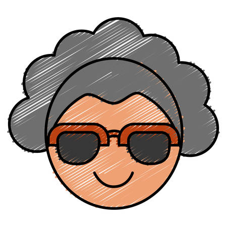 sight: woman wearing sunglasses icon over white background vector illustration