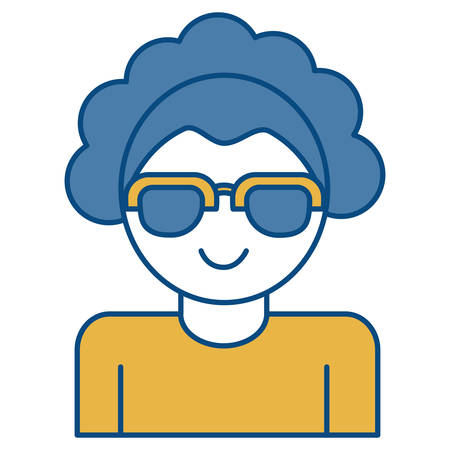 woman wearing sunglasses icon over white background vector illustration