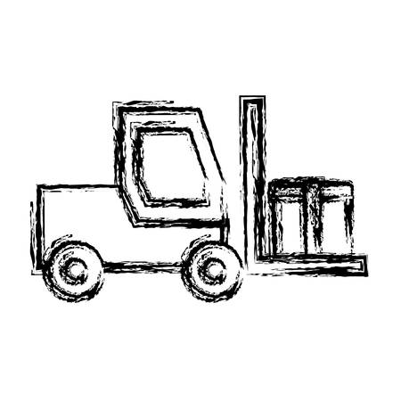 heavy construction: forklift truck icon over white background vector illustration