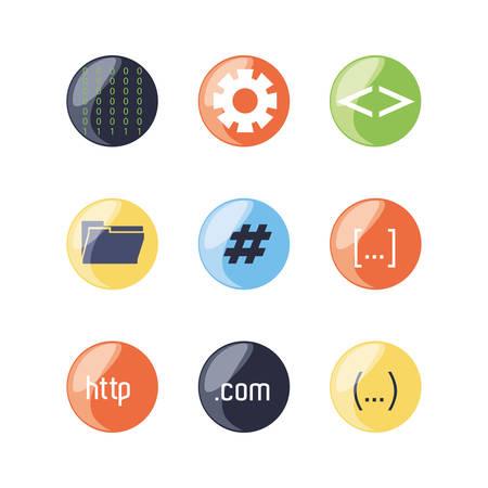 firewall: set of programming code icons vector illustration