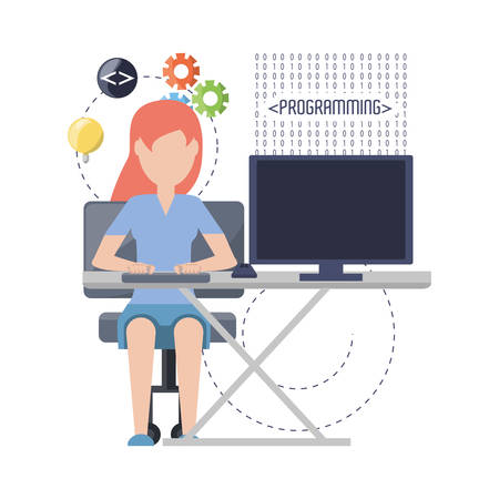 web developer working on computer programming coding vector illustration 矢量图像