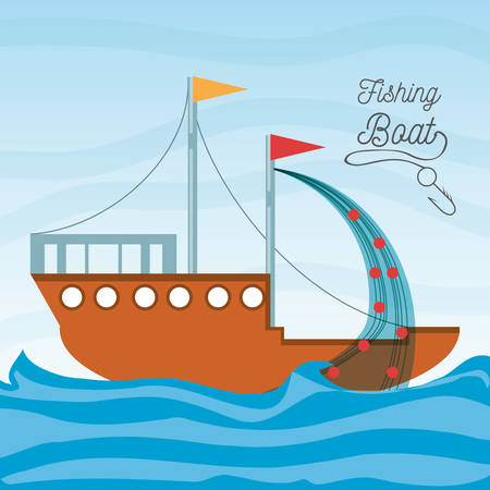 boat over sea with fishing net vector illustration