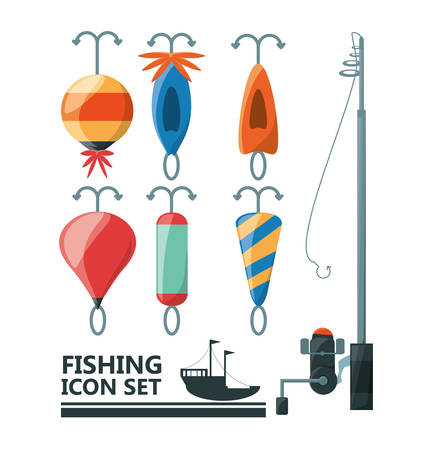 fisheries: fishing equipment basic for catch vector illustration