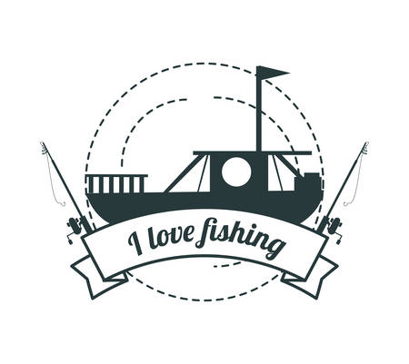 emblem related with fishing boat vector illustration Illustration