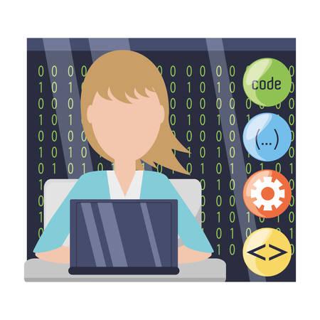 css: web developer working on computer programming coding vector illustration Illustration
