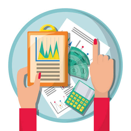 savings account: businesswoman checking the financial documents vector illustration