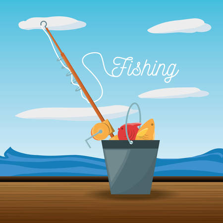 bucket with fish and rod vector illustration Illustration