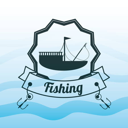 emblem related with fishing boat vector illustration Illustration
