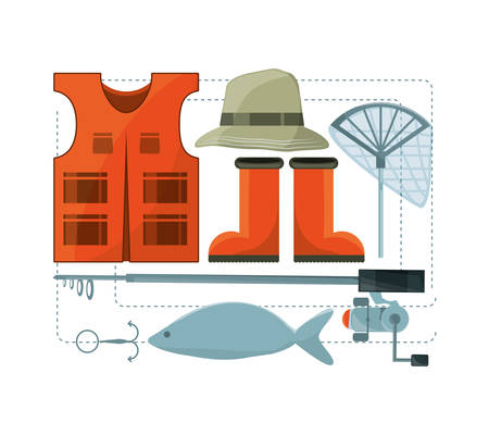 fishing equipment basic for catch vector illustration