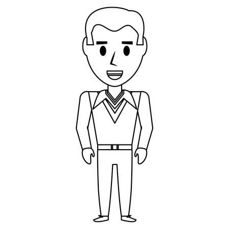 레트로 남자 만화 아이콘 벡터 일러스트 그래픽 디자인