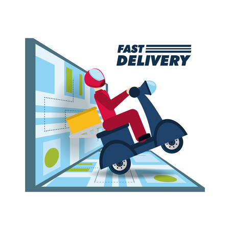 courier delivery with box package in the motocycle and map vector illustration