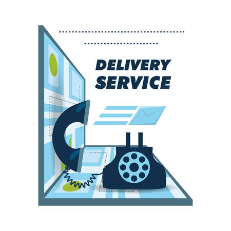 call delivery service and map ubication vector illustration