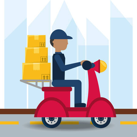 courier delivery with box package in the motocycle vector illustration Illustration